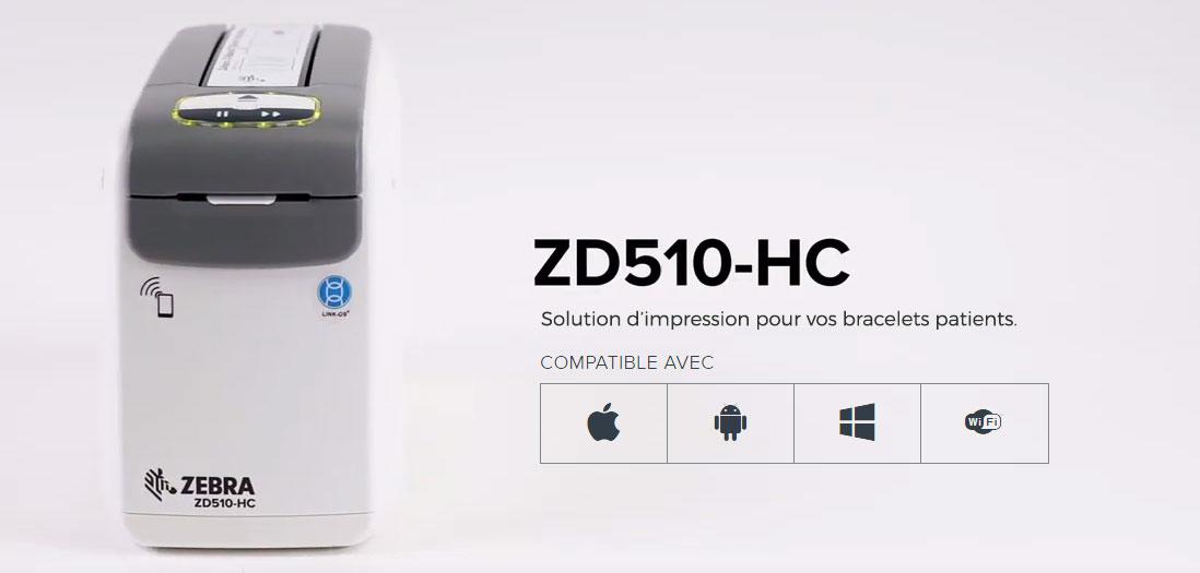 Imprimante ZEBRA ZD510-HC pour bracelets patients ou évenementiels