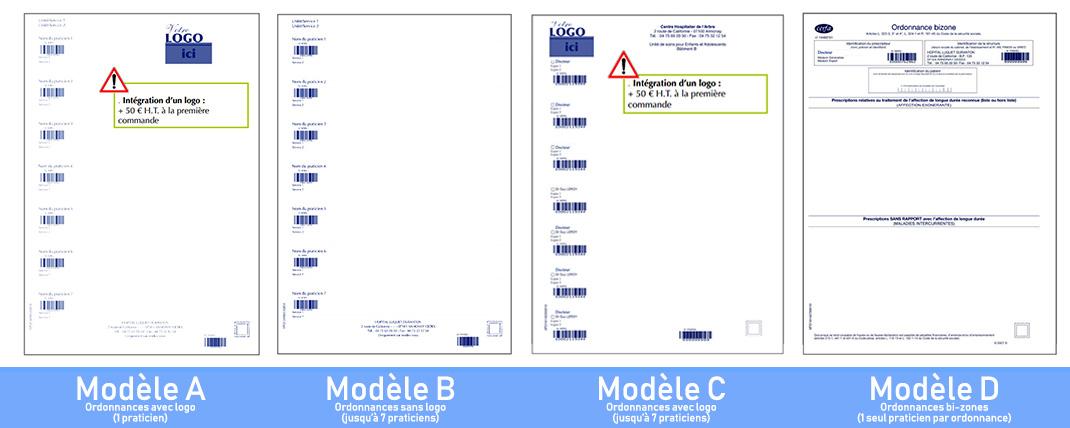 Modèles standards blocs d'ordonnances protégées
